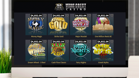 Vegas Crest Casino software and game variety